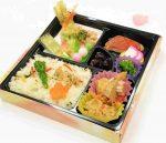 金目鯛の幽庵焼き・あさりご飯・ふきのとう・たらの芽・姫竹の天ぷら・海老の五色揚げ・煮物・他